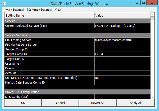 FXCM Trading Settings