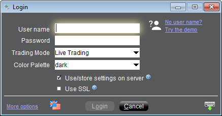 Interactive Brokers TWS Login Window