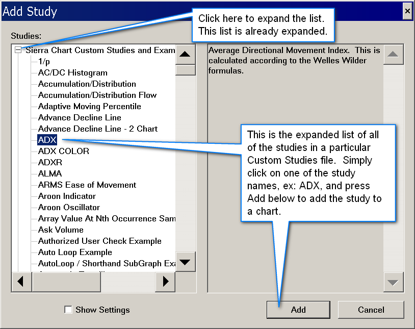 How to Use an Advanced Custom Study or a Study Collection - Sierra Chart