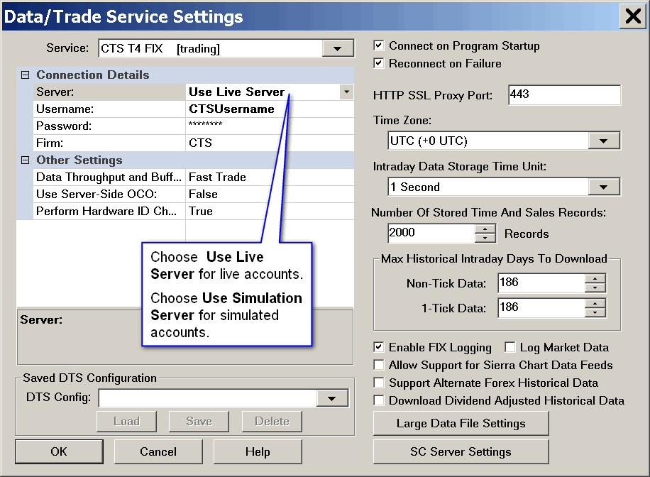 CTS T4 Settings for Sierra Chart