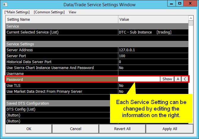 Data/Trade Service Settings - Sierra Chart