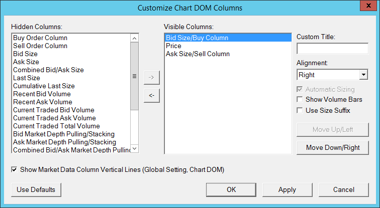 Customize Chart Trade Dom Columns Window