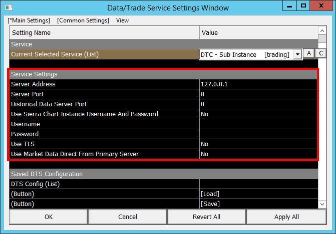 Using DTC Server for Data and Trading in Another