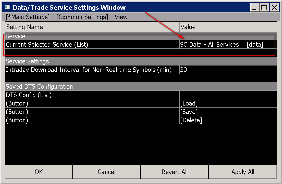 Press Ok To Close The Data Trade Service Settings Window